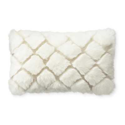 "Faux Fur Pillow Cover, 14"" X 22"", Ivory Diamond Wolf - Williams Sonoma"