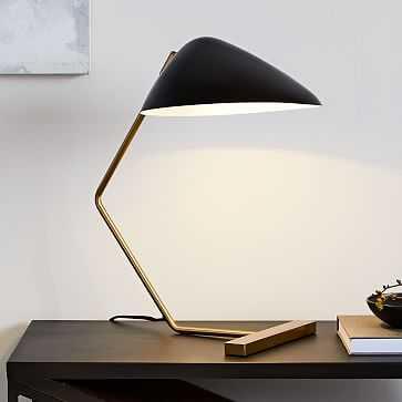 Curvilinear Mid-Century Table Lamp, Black/Brass - West Elm