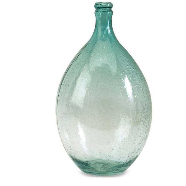 Amadour 13.5 in. H Bubble Glass Bottle Decorative Sculpture in Blue, Green - Home Depot