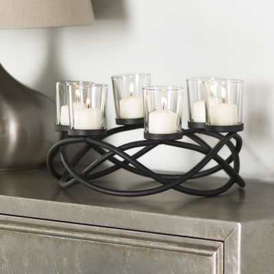 Bellamira Round Waves Iron/Glass Candle Holder - Birch Lane