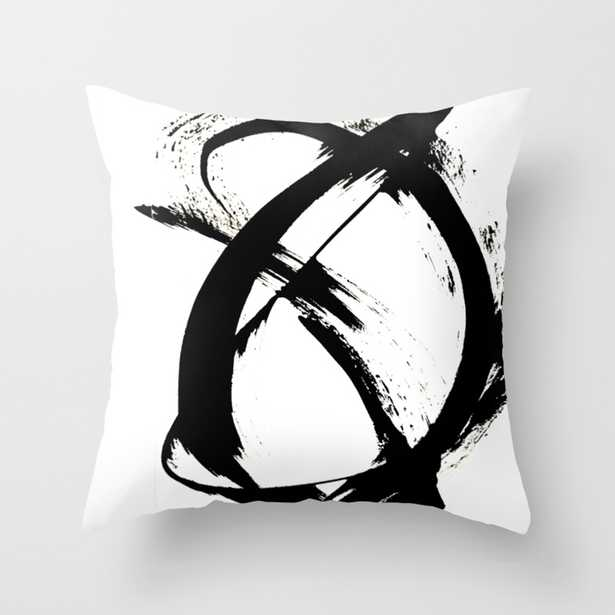 """Brushstroke 7: a minimal, abstract, black and white piece Throw Pillow - Outdoor Cover (18"""" x 18"""") with pillow insert by Blushingbrushstudio - Society6"""