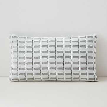 "Cut Velvet Archways Lumbar Pillow Cover, 12""x21"", Stone White - West Elm"