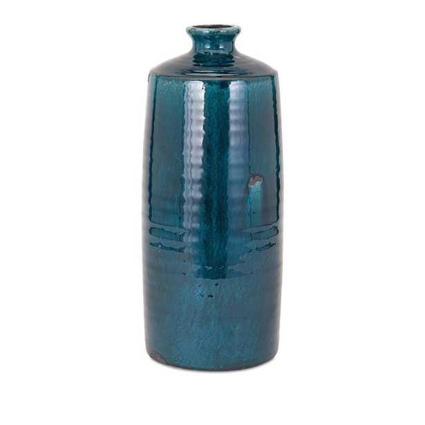 Imax Arlo Large Blue Vase - Home Depot