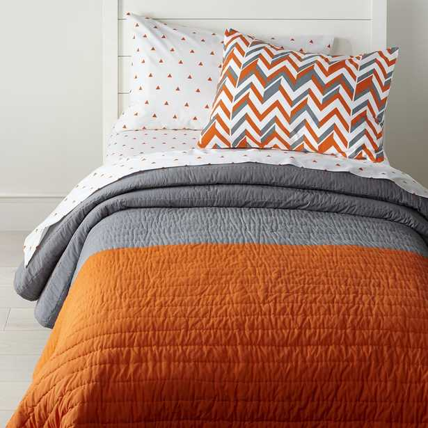 Little Prints Orange Twin Quilt - Crate and Barrel