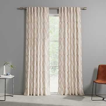 """Cotton Canvas Scribble Lattice Curtain, Set of 2, Rosette, 48""""x96"""" - West Elm"""