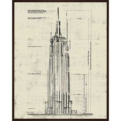'Empire State Building Sepia Architectural Drawing' Framed Graphic Art Print on Canvas - Wayfair