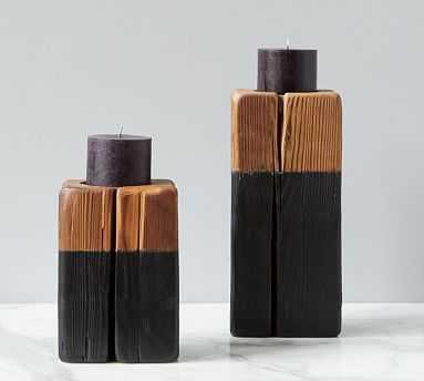 Cordoba Wooden Pillar Candle Holder, Set of 2, Black/Wood - Pottery Barn