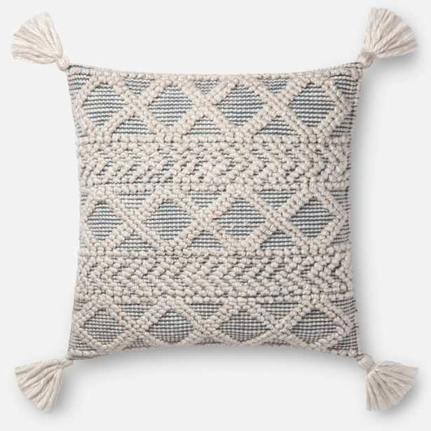 """PILLOWS - IVORY / BLUE, 22"""" with Poly Insert - Loma Threads"""