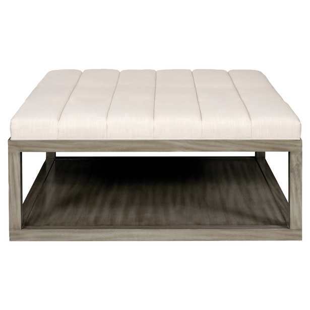 Michael Weiss Wayland Modern Classic Upholstered Grey Wood Square Coffee Table - Kathy Kuo Home