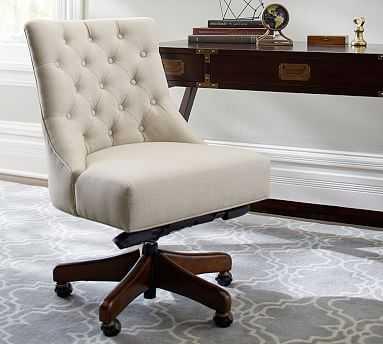 Hayes Upholstered Tufted Swivel Desk Chair with Mahogany Frame, Basketweave Slub Oatmeal - Pottery Barn