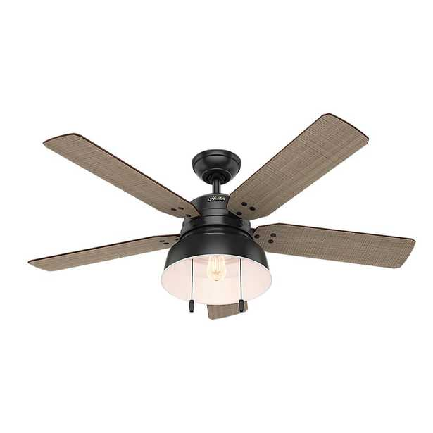 Hunter Mill Valley 52 in. LED Indoor/Outdoor Matte Black Ceiling Fan with Light - Home Depot