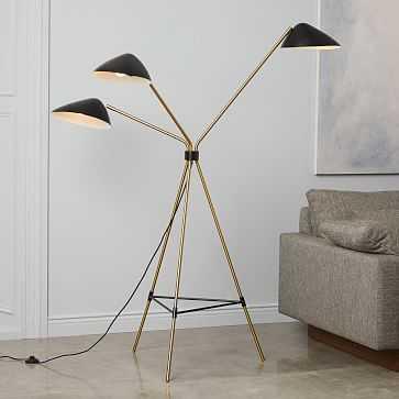 Curvilinear Mid-Century Floor Lamp, 3 Lighting, Black/Brass - West Elm