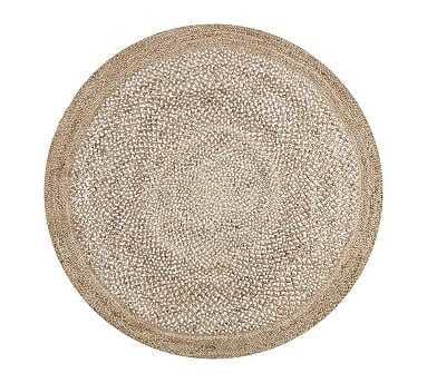 Border Round Jute Rug, 8' Round, Sand - Pottery Barn