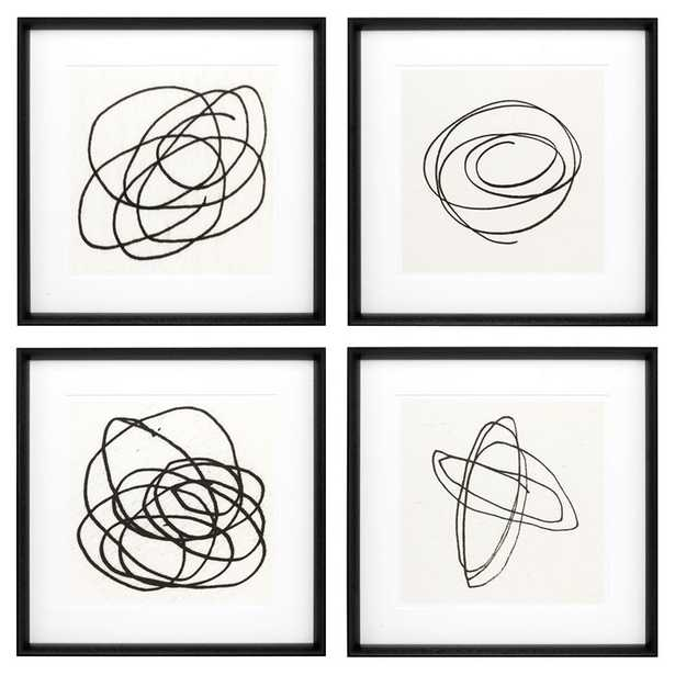 Eichholtz Modern Classic  Set of 4 Black & White Abstract Wall Art Prints - II - Kathy Kuo Home