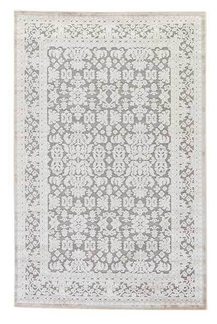"""Regal Damask Gray/ White Area Rug (7'6"""" X 9'6"""") - Collective Weavers"""