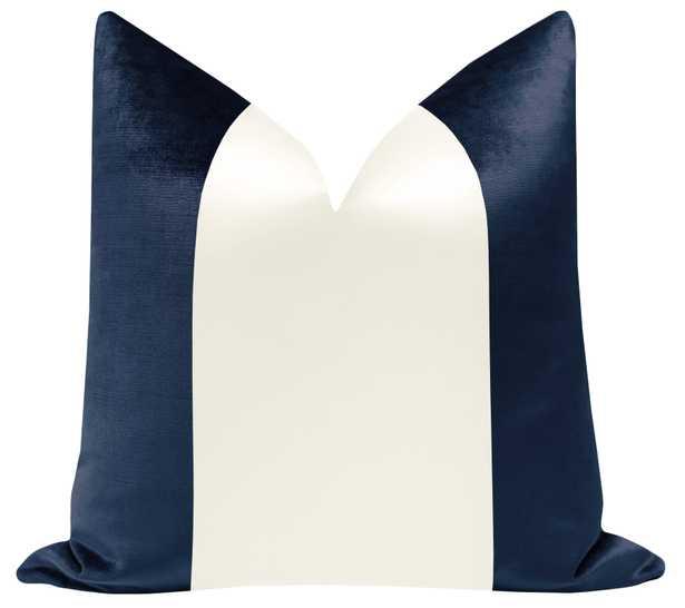 "PANEL Colorblock :: Faux Silk Velvet // Navy Blue + Alabaster Silk - 18"" X 18"" - Little Design Company"