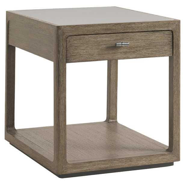 Eliza Rustic Lodge Brown Oak Wood Side End Table - Kathy Kuo Home