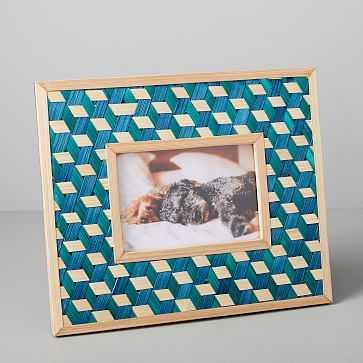 """Woven Frame, Landscape/Teal, 12""""x8"""" - West Elm"""