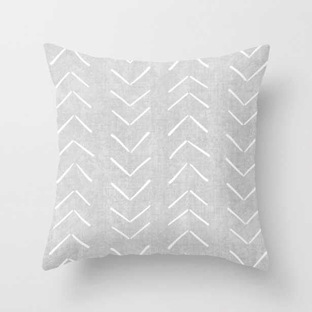 """Mudcloth Big Arrows in Grey Throw Pillow - Outdoor Cover (18"""" x 18"""") with pillow insert by Beckybailey1 - Society6"""
