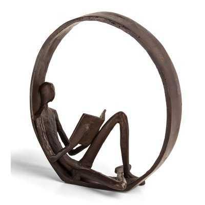 Landy Encircled Reader Iron Sculpture - Wayfair