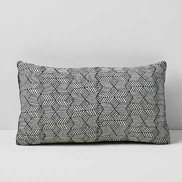 """Outdoor Cubed Pillow, 12""""x21"""", Landscape Blue - West Elm"""