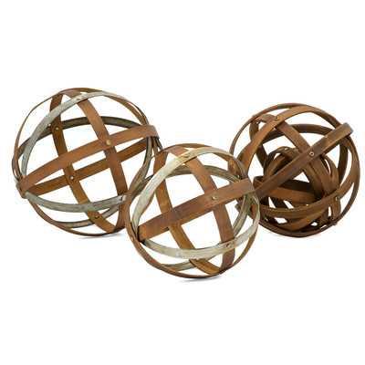 Wood and Metal Spheres 3 Piece Sculpture Set - Wayfair