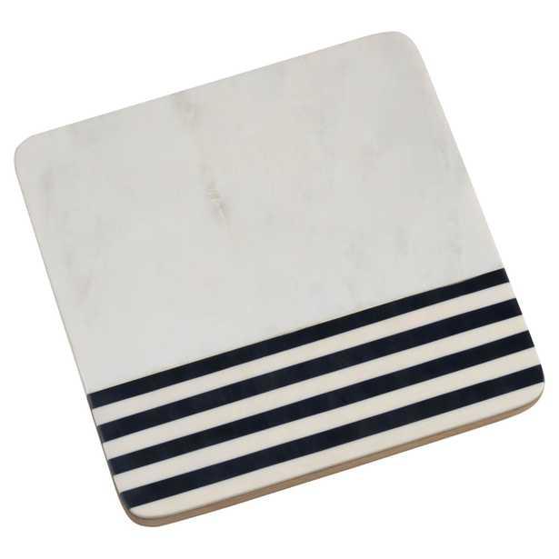 "Lix Modern Classic Black & White Marine Marble & Wood Cheese Board, 9"" - Small - Kathy Kuo Home"