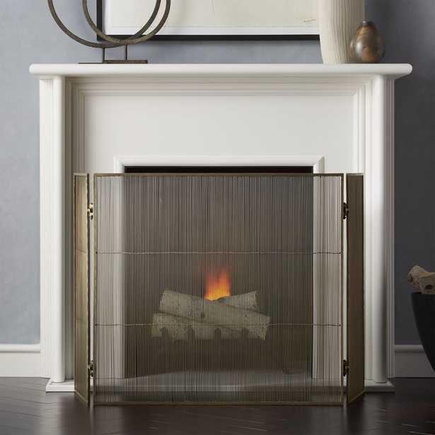 Antiqued 3-Panel Brass Fireplace Screen - Crate and Barrel