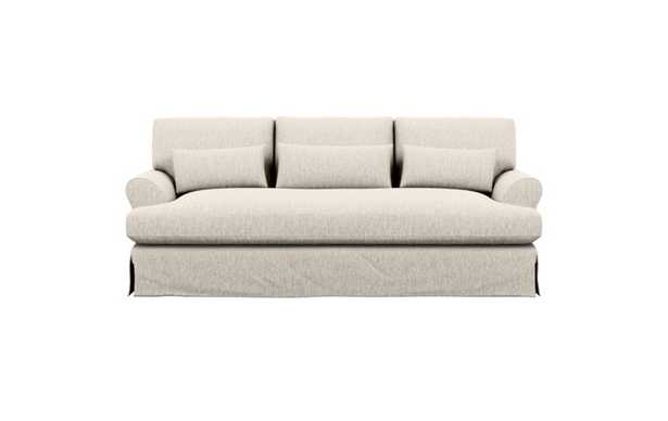 Maxwell Slipcovered Sofa with Wheat Fabric and Bench Cushion - Interior Define