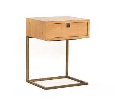Archdale C-Nightstand, Natural Oak/Satin Brass - Pottery Barn