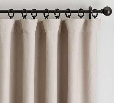 "Classic Belgian Flax Linen Drape, Blackout Lining, 50 x 84"", Dark Flax - Pottery Barn"