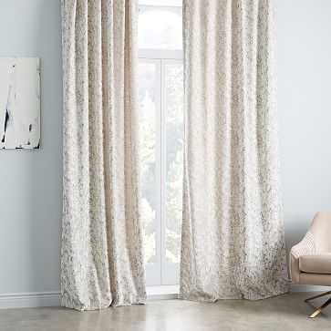 """Allover Textured Jacquard Velvet Curtain, Fog 48""""x84"""" - West Elm"""