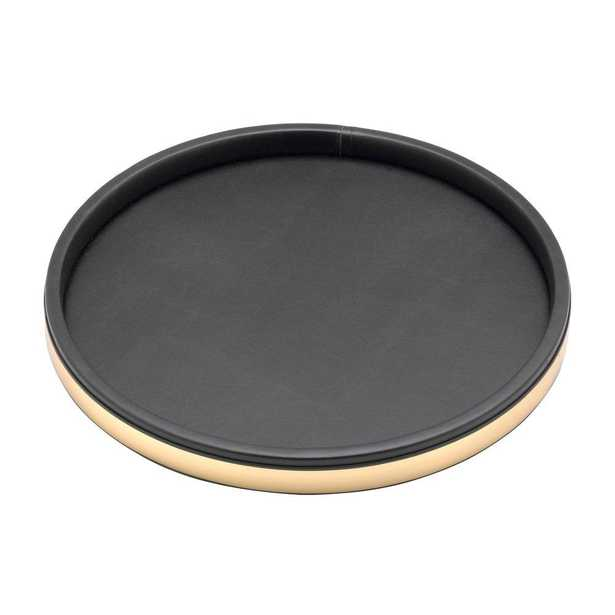 Sophisticates 14 in. Serving Tray in Black w/Polished Brass - Home Depot