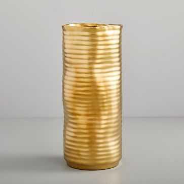 Molten Brass Vase, Large, Straight - West Elm