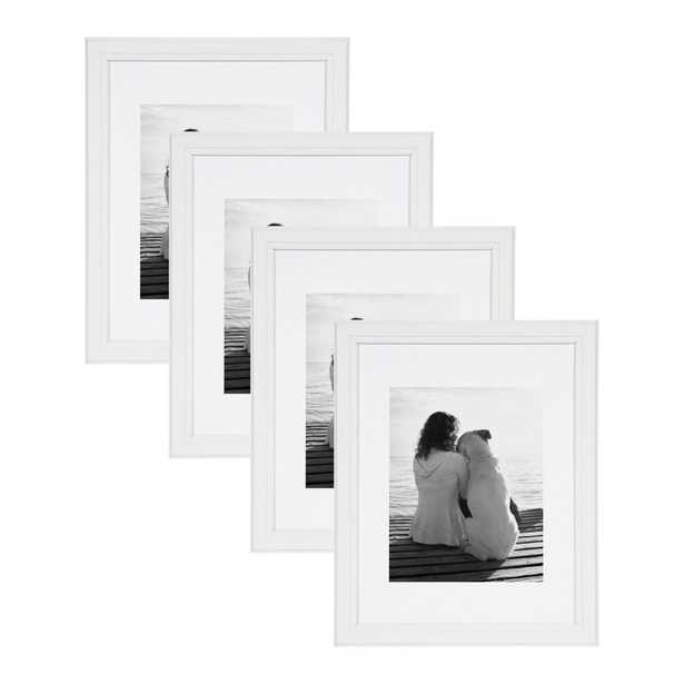 DesignOvation Kieva 11x14 matted to 8x10 White Picture Frame (Set of 4) - Home Depot