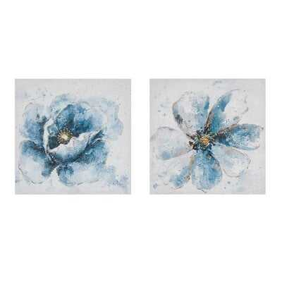 'Gleaming Florals' 2 Piece Painting Print Set on Wrapped Canvas - Wayfair