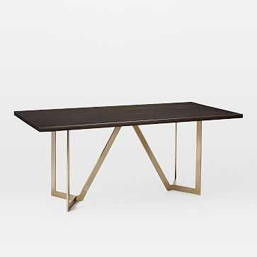 """Tower Dining Table 72"""" Mahogony, Dark Mineral/Antique Brass - West Elm"""