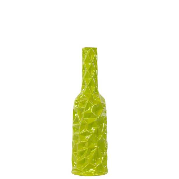 Green Gloss Finish Ceramic Decorative Vase - Home Depot