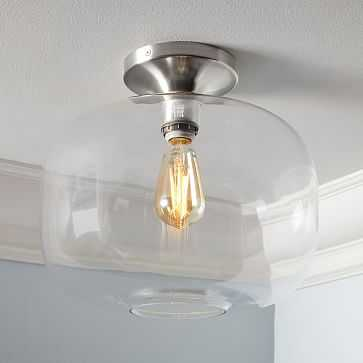 Sculptural Glass Flushmount, Large Pebble, Clear Shade, Nickel Canopy - West Elm