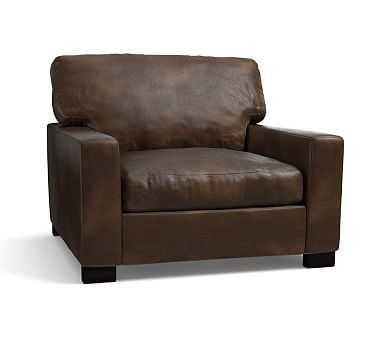 """Turner Square Arm Leather Grand Armchair 43"""", Down Blend Wrapped Cushions, Vintage Cocoa - Pottery Barn"""