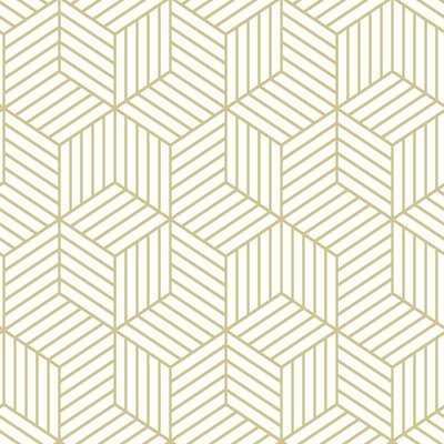 "Rumsey Striped Hexagon 16.5' L x 20.5"" W Geometric Peel and Stick Wallpaper Roll - Birch Lane"