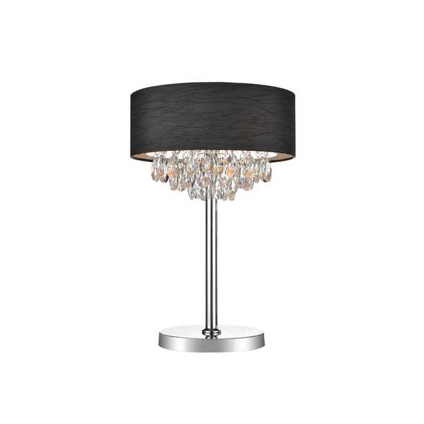 CWI Lighting Dash 24.5 in. Chrome Table Lamp with Black Shade - Home Depot