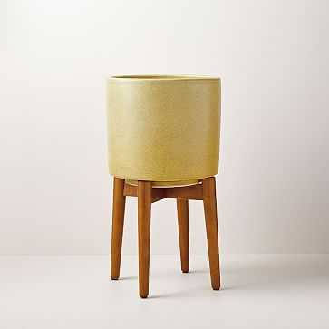 Mid-Century Turned Leg Standing Planters, Yellow Crackle, Tall - West Elm