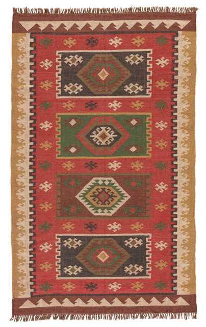 Amman Handmade Geometric Red/ Gold Area Rug (8' X 10') - Collective Weavers