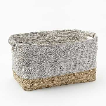 Two-Tone Woven Baskets, Natural/White, Oversized Basket - West Elm
