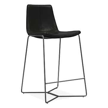 Slope Counter Stool, Leather, Black, Charcoal - West Elm