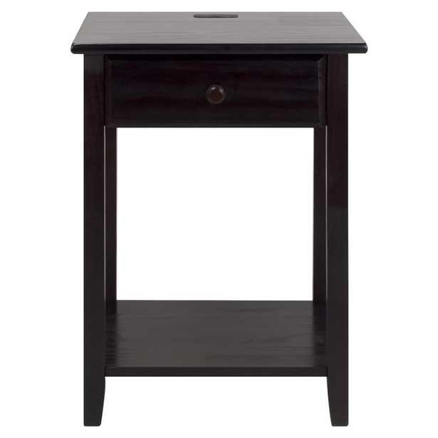 Night Owl Espresso (Brown) Nightstand with USB Port - Home Depot