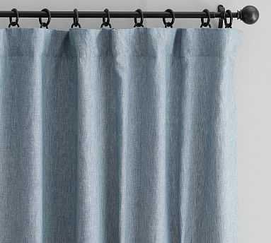 "Classic Belgian Flax Linen Drape, Cotton Lining, 50 x 96"", Blue Chambray - Pottery Barn"