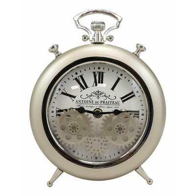 Ebros Antoine De Praiteau Steampunk Mechanical Moving Gears Old Fashioned European Vintage Pocket Watch Style Table Clock Victorian Industrial Accent Clockwork Clocks (Brushed Silver Champagne) - Wayfair