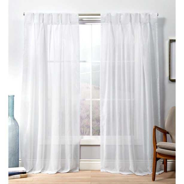 Exclusive Home Curtains Penny PP Winter White Sheer Triple Pinch Pleat Top Curtain Panel - 27 in. W x 96 in. L (2-Panel) - Home Depot
